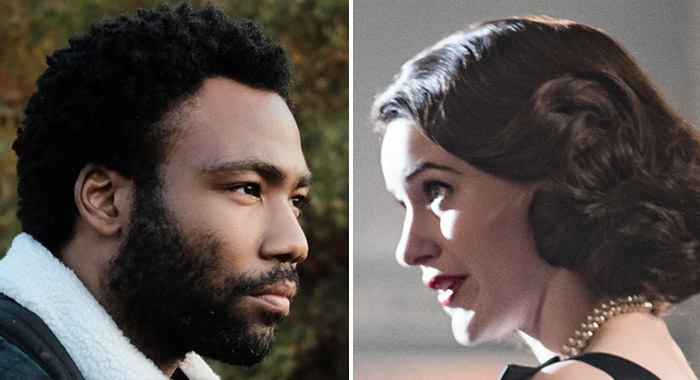 Donald Glover in Atlanta and Rachel Brosnahan The Marvelous Mrs. Maisel (Guy D'Alema/FX; Nicole Rivelli/Amazon Prime)