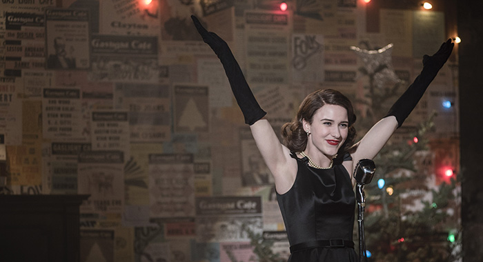 Rachel Brosnahan stars in The Marvelous Mrs. Maisel (Guy D'Alema/FX; Nicole Rivelli/Amazon Prime)