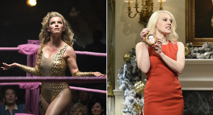Betty Gilpin in GLOW, Kate McKinnon in Saturday Night Live (Erica Parise/Netflix; Will Heath/NBC)