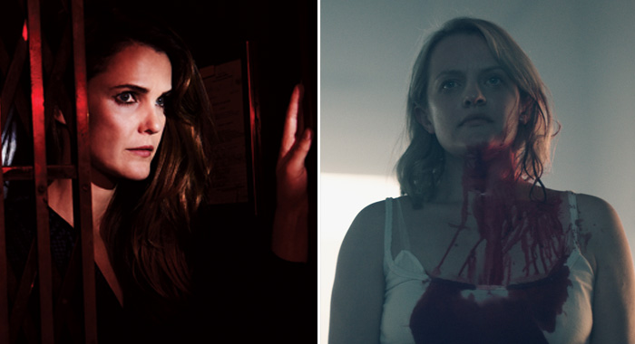 THE AMERICANS -- Pictured: Keri Russell as Elizabeth Jennings; The Handmaid's Tale stars Elisabeth Moss as Offred. (Pari Dukovic/FX; Take Five/Hulu)