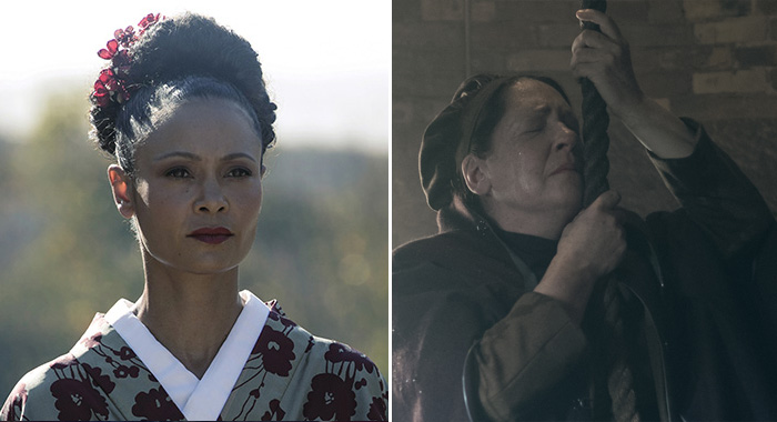 "Westworld Episode 15 (season 2, episode 5, ""Akane No Mai""): Thandie Newton; Aunt Lydia (Ann Dowd), shown.(Jordin Althaus/HBO; George Kraychyk/Hulu)"