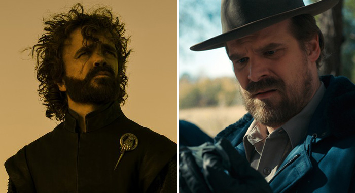 Peter Dinklage in Game of Thrones, season 7; David Harbour in Stranger Things, season 2 (HBO; Netflix)