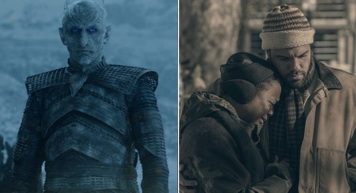 Game of Thrones, season 7, episode 6 Night King; The Handmaid's Tale, Samira Wiley, O-T Fagbenle (HBO; George Kraychyk/Hulu)