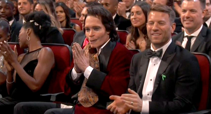 Donald Glover dressed as Atlanta season 2 character Teddy Perkins in a screencap from the Emmys audience (NBC)