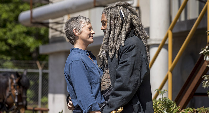Khary Payton as Ezekiel, Melissa McBride as Carol Peletier - The Walking Dead _ Season 9, Episode 1 - Photo Credit: Jackson Lee Davis/AMC