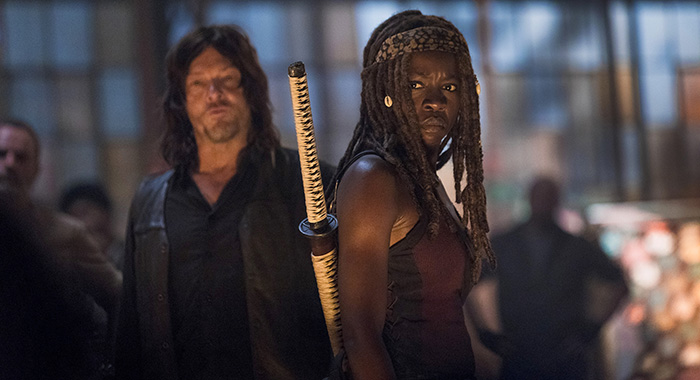 Norman Reedus as Daryl Dixon, Danai Gurira as Michonne - The Walking Dead _ Season 9, Episode 1 - Photo Credit: Jackson Lee Davis/AMC