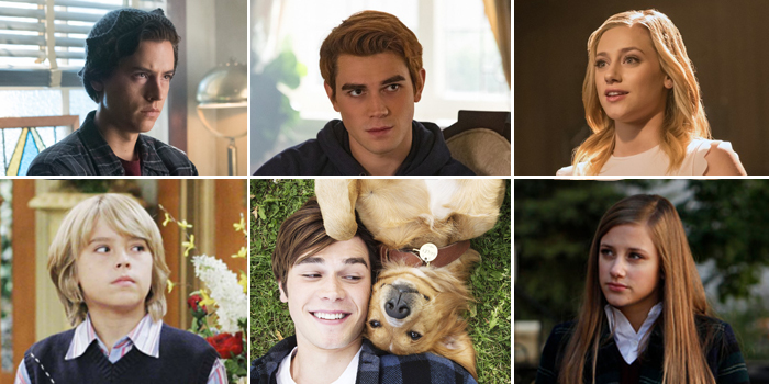 Riverdale stars Cole Sprouse, KJ Apa, Lili Reinhart, respectively (bottom), in The Suite Life of Zack and Cody, A Dog's Purpose and Law & Order: SVU (The CW; Courtesy Everett Collection: ©Disney Channel; ©Universal; NBCUniversal, Inc.)