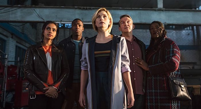 Yasmin Khan (MANDIP GILL), Ryan Sinclair (TOSIN COLE), The Doctor (JODIE WHITTAKER), Graham O'Brien (BRADLEY WALSH), Grace (SHARON D CLARKE) in Doctor Who Series 11 (Sophie Mutevelian/BBC America)