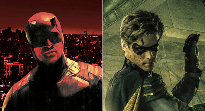 Daredevil keyart and Robin from Titans character poster (Netflix; DC Universe)