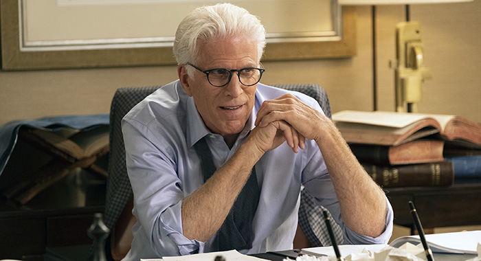 "THE GOOD PLACE -- ""The Worst Possible Use of Free Will"" Episode 308 -- Pictured: Ted Danson as Michael -- (Photo by: Colleen Hayes/NBC)"
