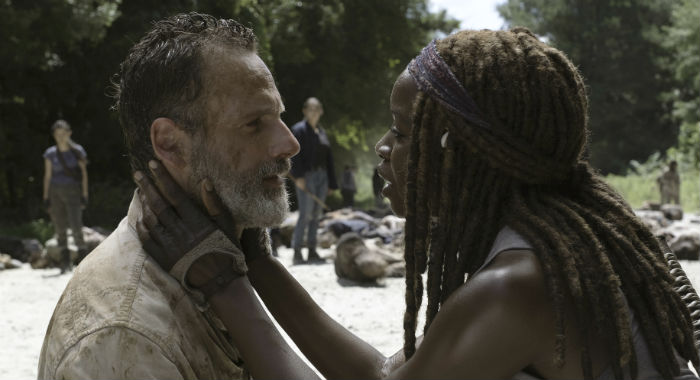 Andrew Lincoln as Rick Grimes, Danai Gurira as Michonne - The Walking Dead _ Season 9, Episode 5 - Photo Credit: Jackson Lee Davis/AMC