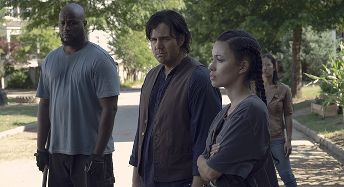 Christian Serratos as Rosita Espinosa, Josh McDermitt as Dr. Eugene Porter - The Walking Dead _ Season 9, Episode 6 - Photo Credit: Gene Page/AMC