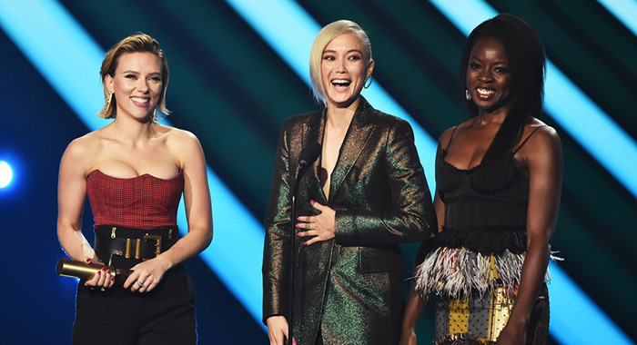 "2018 E! PEOPLE'S CHOICE AWARDS -- Pictured: (l-r) Actors Scarlett Johansson, Pom Klementieff and Danai Gurira accept The Movie of 2018 award for ""Avengers: Infinity War"" on stage during the 2018 E! People's Choice Awards held at the Barker Hangar on November 11, 2018 -- (Photo by: Alberto Rodriguez/E! Entertainment)"