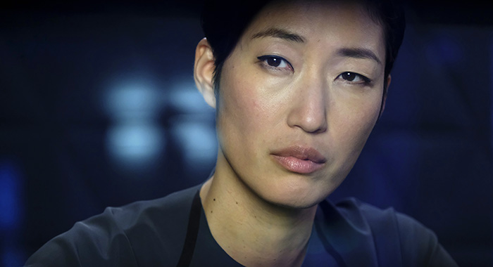 IMSF Commander Hana Seung, played by JiHAE. In Season 2 of MARS, the mission to colonize Mars becomes a battle between science and self-interest when a privately held corporation makes its home on the Red Planet. (photo credit: National Geographic/Dusan Martincek)