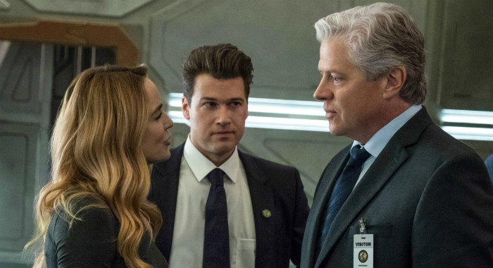 "DC's Legends of Tomorrow -- ""Tender is the Nate"" -- Image Number: LGN406a_0328b.jpg -- Pictured (L-R): Caity Lotz as Sara Lance/White Canary, Nick Zano as Nate Heywood/Steel and Tom Wilson as Hank Heywood -- Photo: Jack Rowand/The CW -- © 2018 The CW Network, LLC. All Rights Reserved."
