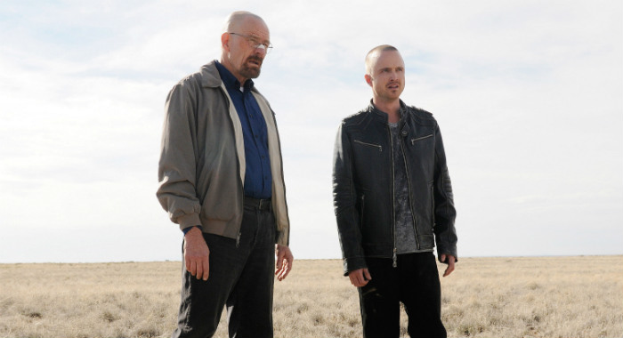 BREAKING BAD, (from left): Bryan Cranston, Aaron Paul, 'Live Free or Die', (Season 5, ep. 501, airing July 15, 2012), 2008-2012. Photo: Ursula Coyote/©AMC/Courtesy Everett Collection