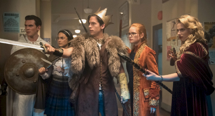 "Riverdale -- ""Chapter Thirty-Nine: The Midnight Club"" -- Image Number: RVD304c_0360.jpg -- Pictured (L-R): KJ Apa as Teen Fred Andrews, Camila Mendes as Teen Hermione Gomez, Cole Sprouse as Teen FP Jones, Madelaine Petsch as Teen Penelope Blossom and Lili Reinhart as Teen Alice Smith -- Photo: Dean Buscher/The CW -- © 2018 The CW Network, LLC. All Rights Reserved. CREDIT: Dean Buscher/The CW"
