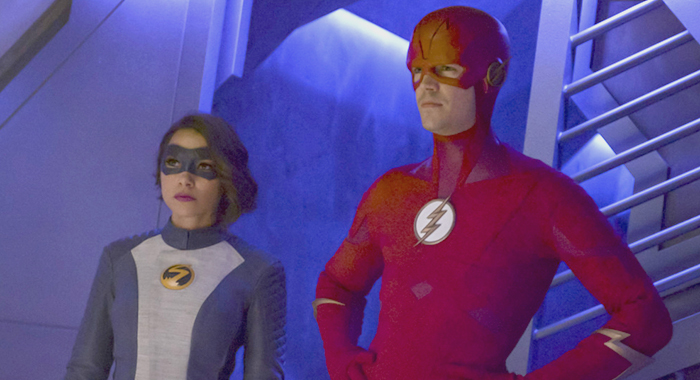 "The Flash -- ""O Come, All Ye Thankful"" -- Image Number: FLA507a_0538b.jpg -- Pictured (L-R): Jessica Parker Kennedy as XS and Grant Gustin as The Flash -- Photo: Sergei Bachlakov/The CW"