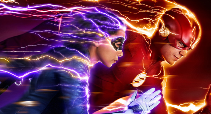 The Flash -- Image: CW_FLASH_S5_8x12_300dpi.jpg -- Pictured (L-R): Jessica Parker Kennedy as XS and Grant Gustin as The Flash -- Credit: Katie Yu/The CW -- © 2018 The CW Network, LLC. All Rights Reserved.