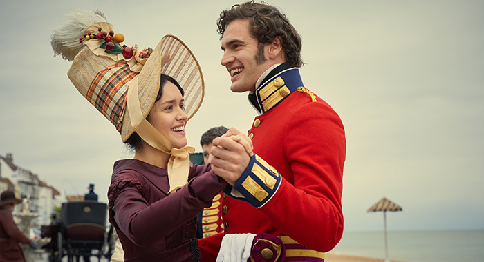 MAMMOTH SCREEN FOR ITV VANITY FAIR EPISODE 4 Pictured: OLIVIA COOKE as Becky Sharp and MATHEW BAYNTON as Bute Crawley Photo Credit: Robert Viglasky/Amazon