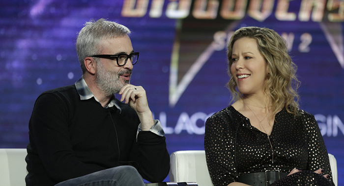 Pictured (l-r): Executive Producer, Alex Kurtzman; Executive Producer, Heather Kadin during the STAR TREK: DISCOVERY Winter TCA Panel, held at the The Langham Huntington, Pasadena on January 30th, 2019. Photo Cr: Francis Specker/CBS © 2019 CBS Interactive. All Rights Reserved.