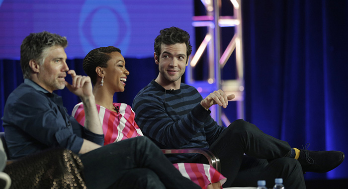 Pictured (l-r): Anson Mount; Sonequa Martin-Green; Ethan Peck during the STAR TREK: DISCOVERY Winter TCA Panel, held at the The Langham Huntington, Pasadena on January 30th, 2019. Photo Cr: Francis Specker/CBS © 2019 CBS Interactive. All Rights Reserved.