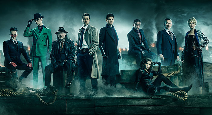 GOTHAM: L-R: Robin Lord Taylor as Oswald Cobblepot / Penguin, Cory Michael Smith as Edward Nygma / The Riddler, Donal Logue as Detective Harvey Bullock, Ben McKenzie as Detective James Gordon, David Mazouz as Bruce Wayne, Chris Chalk as Lucius Fox, Camren Bicondova as Selina Kyle / the future Catwoman, Sean Pertwee as Alfred Pennyworth and Erin Richards as Barbara Kean. Season 5 of GOTHAM premieres Thursday, Jan. 3 (8:00-9:00 PM ET/PT) on FOX. ©2018 Fox Broadcasting Co. Cr: JUSTIN STEPHENS / FOX