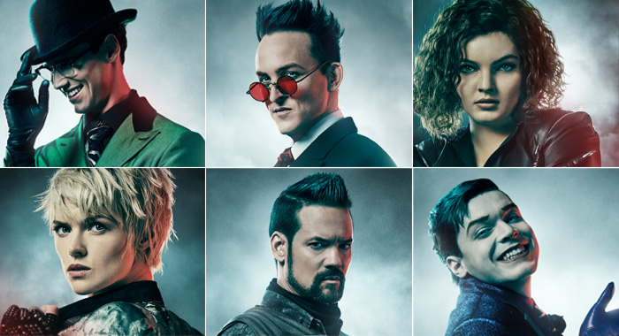 GOTHAM: Cory Michael Smith as Edward Nygma / The Riddler; Robin Lord Taylor as Oswald Cobblepot / Penguin; Camren Bicondova as Selina Kyle / the future Catwoman; Cameron Monaghan as Jerome Valeska / Jeremiah Valeska; Shane West as Eduardo Dorrance; Erin Richards as Barbara Kean in season 5 ©2018 Fox Broadcasting Co. Cr: JUSTIN STEPHENS / FOX