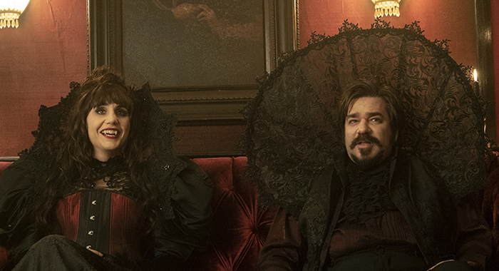 "WHAT WE DO IN THE SHADOWS -- ""Pilot"" -- Season 1, Episode 1 - Pictured (l-r): Natasia Demetriou as Nadja, Matt Berry as Laszlo. CR: Byron Cohen/FX"