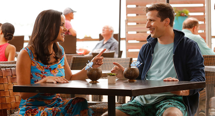 "BROOKLYN NINE-NINE -- ""Honeymoon"" Episode 601 -- Pictured: (l-r) Melissa Fumero as Amy Santiago, Andy Samberg as Jake Peralta -- (Photo by: Vivian Zink/NBC)"