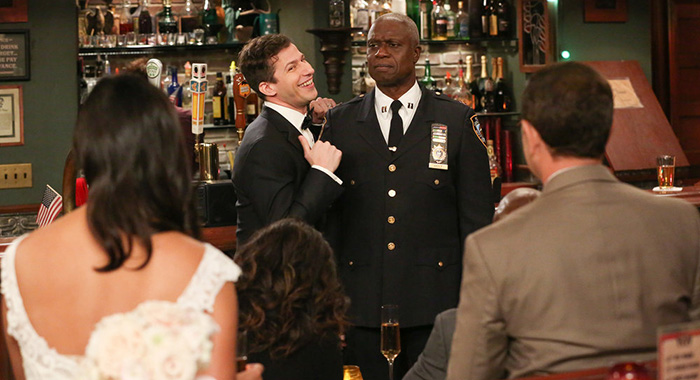 "BROOKLYN NINE-NINE -- ""Honeymoon"" Episode 601 -- Pictured: (l-r) Andy Samberg as Jake Peralta, Andre Braugher as Ray Holt -- (Photo by: Vivian Zink/NBC)"