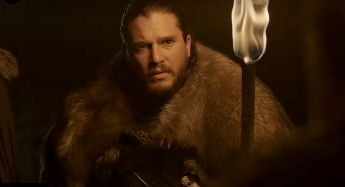 Game of Thrones season 8, teaser 2 screencap Kit Harington as Jon Snow (HBO)