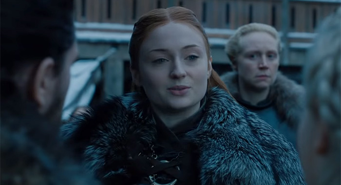 Game of Thrones HBO season 8 tease (2019 preview); Sophie Turner as Sansa Stark (HBO)