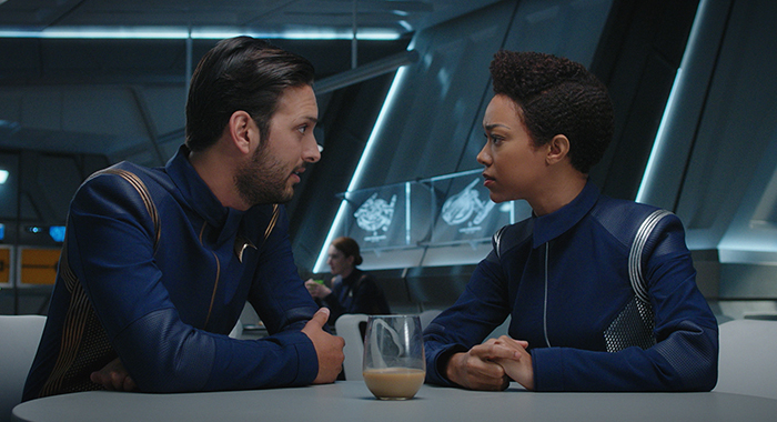"""Despite Yourself"" -- Episode 110 -- Pictured (l-r): Shazad Latif as Lieutenant Ash Tyler; Sonequa Martin-Green as First Officer Michael Burnham of the CBS All Access series STAR TREK: DISCOVERY. Photo Cr: CBS"