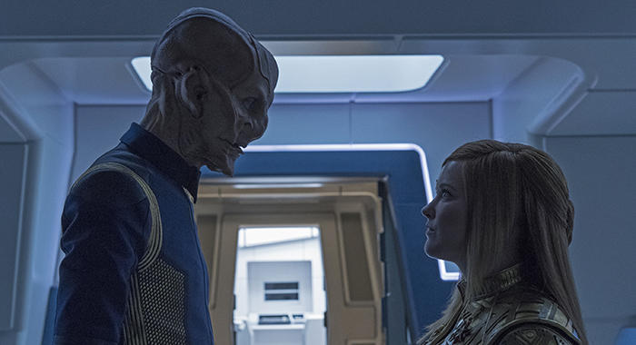 """The Wolf Inside""-- Episode 111 -- Pictured (l-r): Doug Jones as Saru; Mary Wiseman as Cadet Sylvia Tilly of the CBS All Access series STAR TREK: DISCOVERY. Photo Cr: Ben Mark Holzberg/CBS"