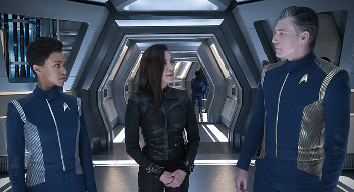 Ep #205 - Pictured (l-r): Sonequa Martin-Green as Michael Burnham; Michelle Yeoh as Captain Philippa Georgiou; Anson Mount as Captain Pike; of the CBS All Access series STAR TREK: DISCOVERY. Photo Cr: Michael Gibson/CBS