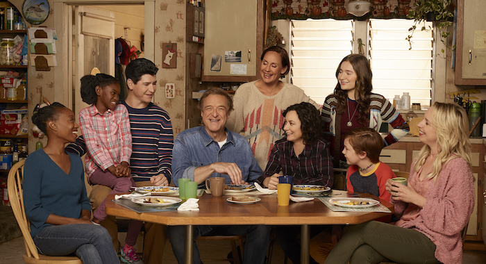 """THE CONNERS - ABC's """"The Conners"""" stars Maya Lynne Robinson as Geena Williams-Conner, Jayden Rey as Mary, Michael Fishman as D.J. Conner, John Goodman as Dan Conner, Laurie Metcalf as Jackie Harris, Sara Gilbert as Darlene Conner, Emma Kenney as Harris Conner, Ames McNamara as Mark, and Lecy Goranson as Becky Conner. (ABC/Robert Trachtenberg)"""