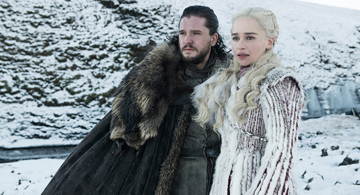 Kit Harington as Jon Snow and Emilia Clarke as Daenerys Targaryen in Game of Thrones season 8 (Helen Sloan/HBO)