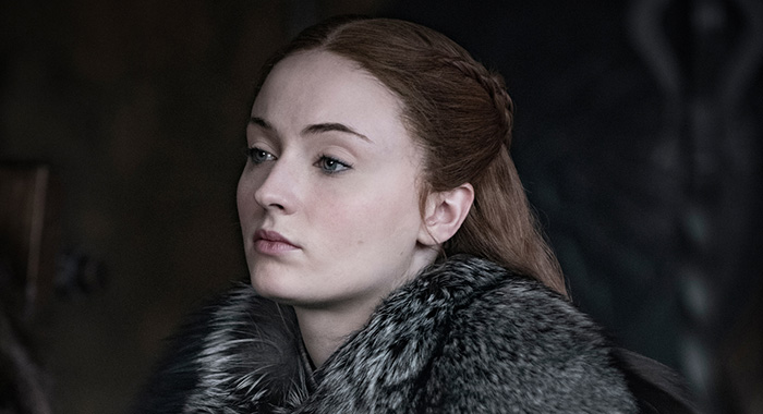 Sophie Turner as Sansa Stark in Game of Thrones season 8 (Helen Sloan/HBO)