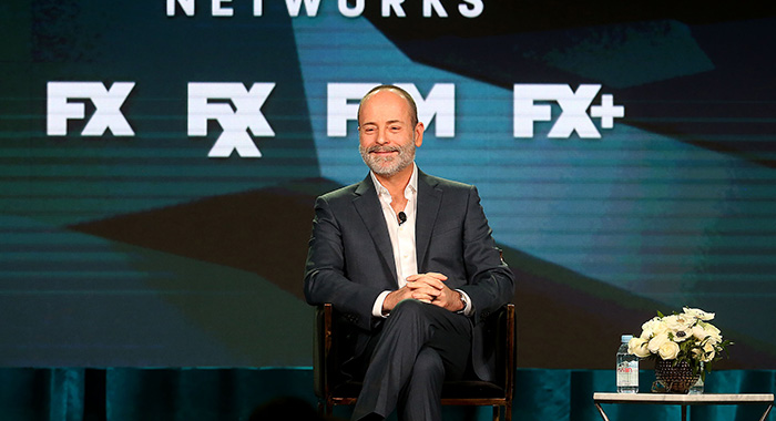 PASADENA, CALIFORNIA - FEBRUARY 04: John Landgraf, CEO of FX Networks & FX Productions, speaks during the FX segment of the 2019 Winter Television Critics Association Press Tour at The Langham Huntington, Pasadena on February 04, 2019 in Pasadena, California. (Photo by Frederick M. Brown/Getty Images)