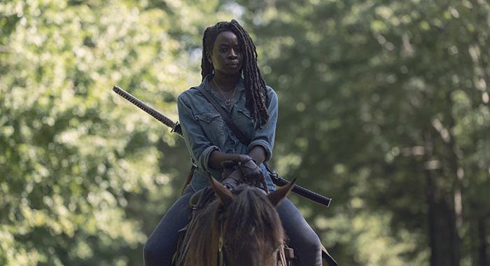 Danai Gurira as Michonne - The Walking Dead _ Season 9, Episode 7 - Photo Credit: Gene Page/AMC
