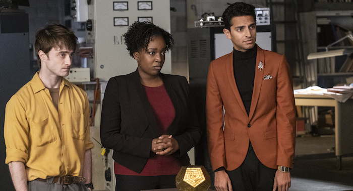 "Miracle Workers Episode 107: ""1 HOUR"" Daniel Radcliffe, Lolly Adefope, Karan Soni Photo by Curtis Baker/TBS"