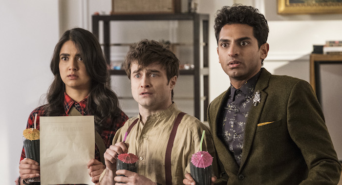 "Miracle Workers Episode 105: ""3 DAYS"" Geraldine Viswanathan, Daniel Radcliffe, Karan Soni Photo by Curtis Baker/TBS"