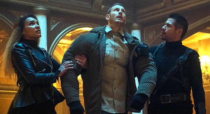 Emmy Raver-Lampman, Tom Hopper, David Castañeda in The Umbrella Academy (Christos Kalohoridis/Netflix)