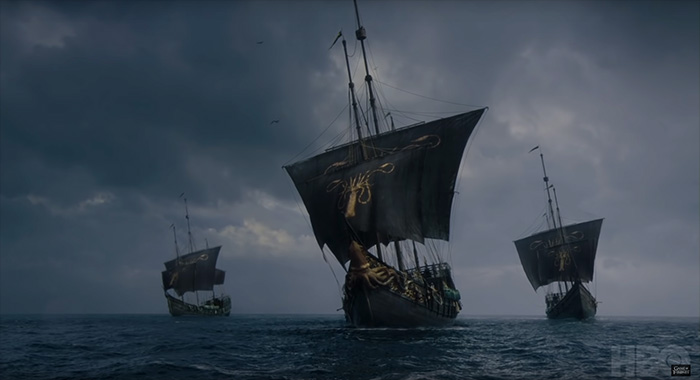 Euron's Ironborn fleet in Game of Thrones season 8 trailer screencap (HBO)