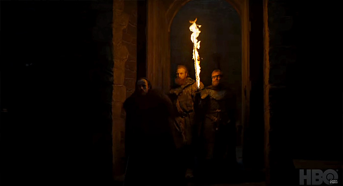 Ben Crompton as Eddison Tollett, Kristofer Hivju as Tormund Giantsbane, and Richard Dormer as Beric Dondarrion in in Game of Thrones season 8 trailer screencap (HBO)
