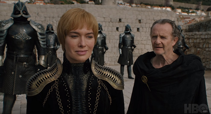 Lena Headey as Cersei Lannister and Anton Lesser as Qyburn in Game of Thrones season 8 trailer screencap (HBO)