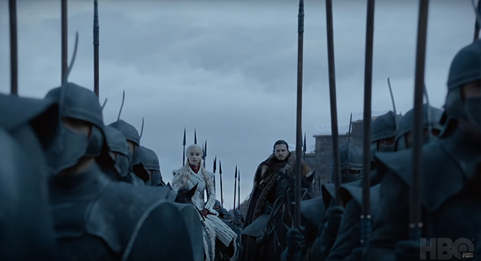 Emilia Clarke as Daenerys and Kit Harington as Jon Snow in Game of Thrones season 8 trailer screencap (HBO)