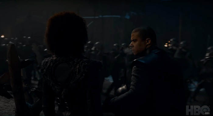 Nathalie Emmanuel as Missandei and Jacob Anderson as Grey Worm in Game of Thrones season 8 trailer screencap (HBO)