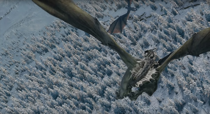 Dragons flying in Game of Thrones season 8 trailer screencap (HBO)
